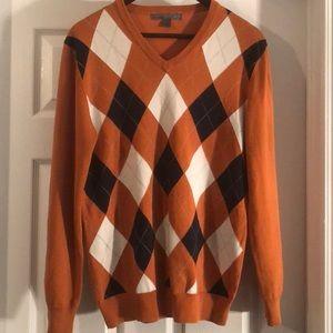 Men's Orange & Navy Blue Argyle Sweater